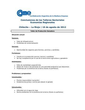 Conclusiones de los Talleres Sectoriales de Economías Regionales ...