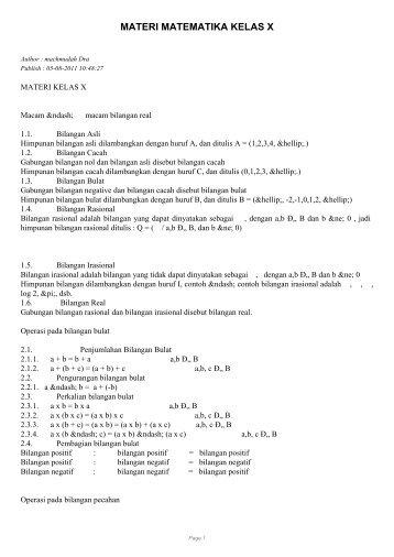 MATERI MATEMATIKA KELAS X - SKP