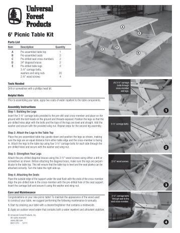 6-Foot Picnic Table Kit Installation Instructions - Universal Forest ...