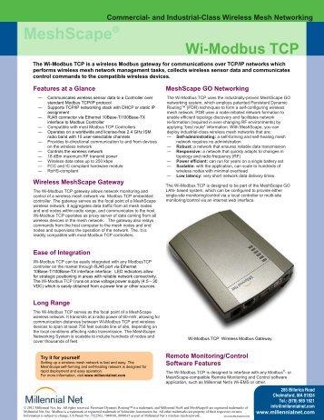 Wi-Modbus TCP Datasheet - Millennial Net