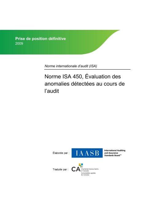 Évaluation des anomalies détectées au cours de l'audit - Normes d ...