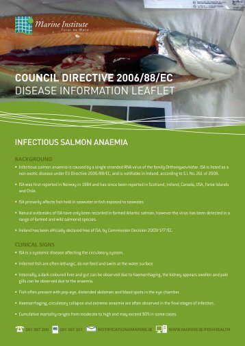 Download disease information leaflet on ISA - Marine Institute