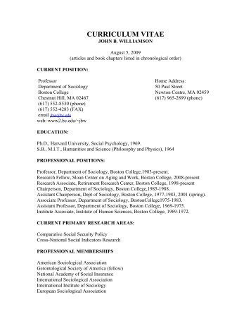 CURRICULUM VITAE - Personal Web Server - Boston College