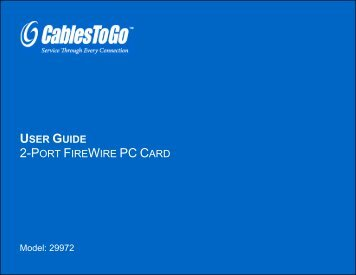 USER GUIDE 2-PORT FIREWIRE PC CARD - Cables To Go