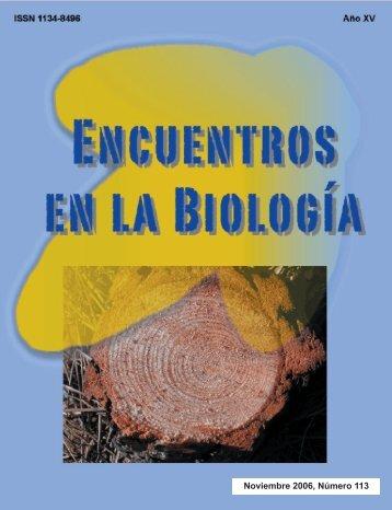 Noviembre 2006, Número 113 - Encuentros en la Biología ...