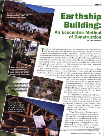 Earthship Building: An Ecocentric Method of Construction