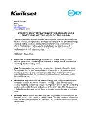 Kwikset_Kevo Fact Sheet_FINAL - Kwikset – Electronic Press Kit