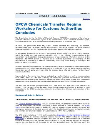 Press Release OPCW Chemicals Transfer Regime Workshop for ...