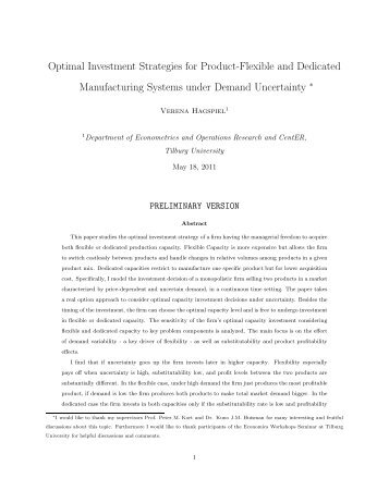 Optimal Investment Strategies for Product-Flexible and Dedicated ...