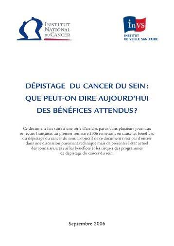 dépistage du cancer du sein - Institut de veille sanitaire