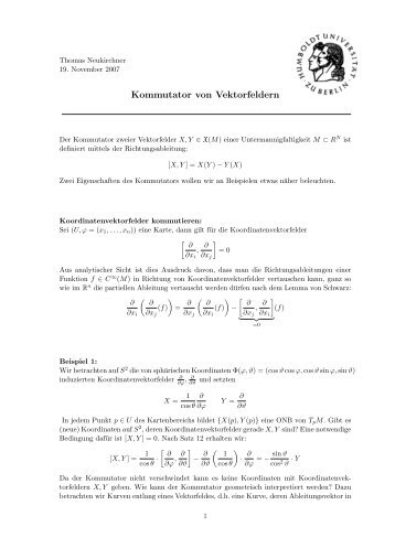 Kommutator von Vektorfeldern