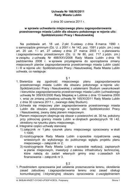 Uchwała Nr 166/XI/2011 Rady Miasta Lublin z dnia 30 czerwca ...