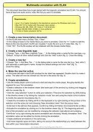 Multimedia annotation with ELAN