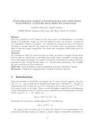 Convergence faible d'estimateurs des fonctions d'incidence ...