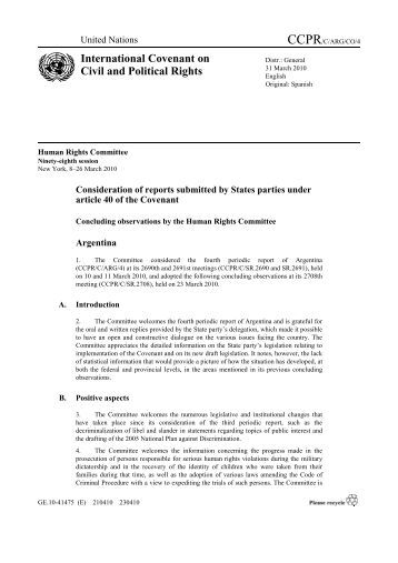CCPR/C/ARG/CO/4 - Office of the High Commissioner on Human ...