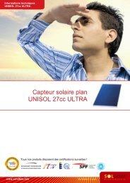 Capteur solaire plan UNISOL 27cc ULTRA