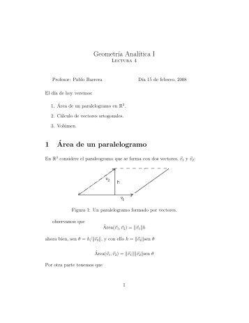 Geometr´ıa Anal´ıtica I 1´Area de un paralelogramo