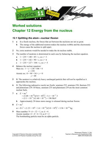 Worked solutions Chapter 12 Energy from the nucleus - PEGSnet