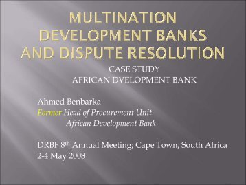 Multination Development Banks and Dispute Resolution