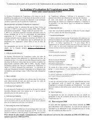 Le Système d'évaluation de l'expérience pour 2008 - Travail ...