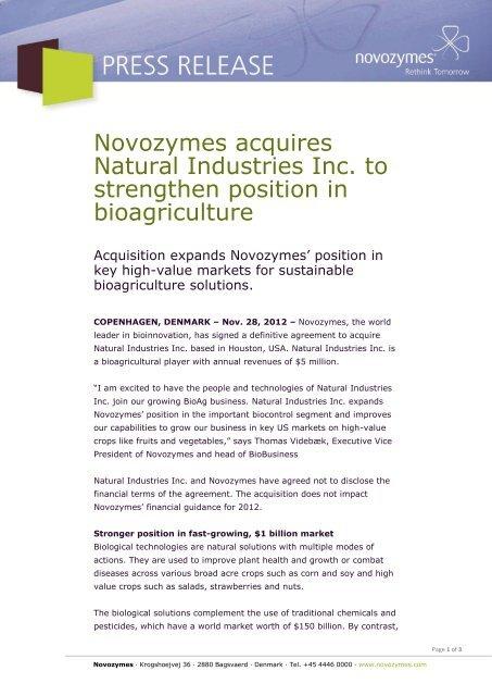 Novozymes acquires Natural Industries Inc. to strengthen position in ...