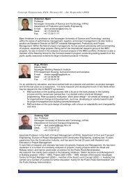 individual presentations of the participants and ... - Concept - NTNU