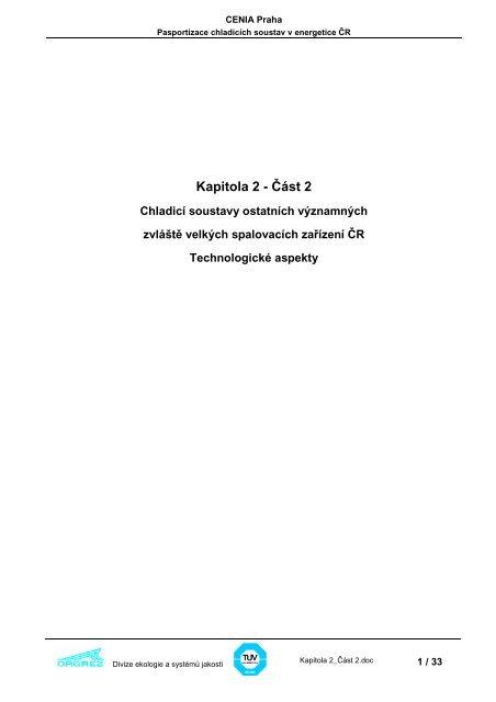 Kapitola 2 - CENIA, česká informační agentura životního prostředí