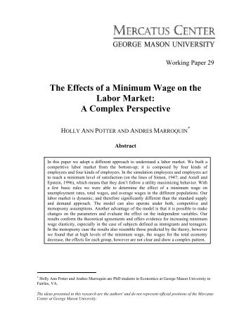 The Effects of a Minimum Wage on the Labor Market - Mercatus Center