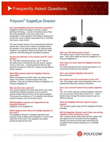 HDX EagleEye Camera FAQ's Fact Sheet - 1 PC Network Inc