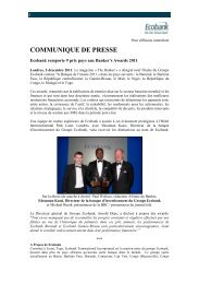 Ecobank remporte 9 prix pays aux banker's awards 2011