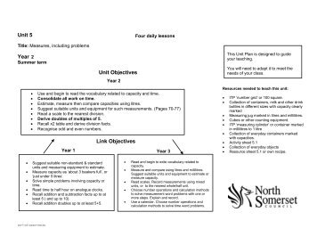 Unit 5 Year 2 Unit Objectives Link Objectives - Wirral Learning Grid