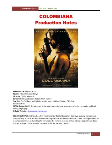 COLOMBIANA Production Notes - VisualHollywood