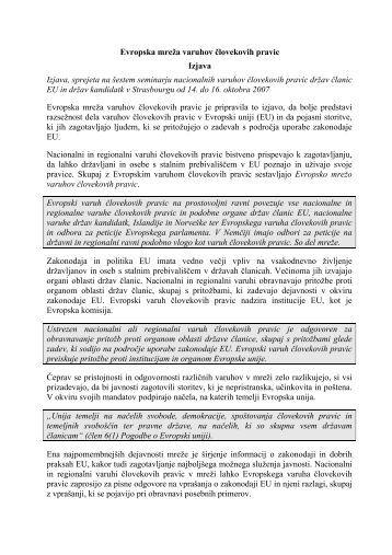 Izjava o sodelovanju Evropskega Ombudsmana in nacionalnih ...