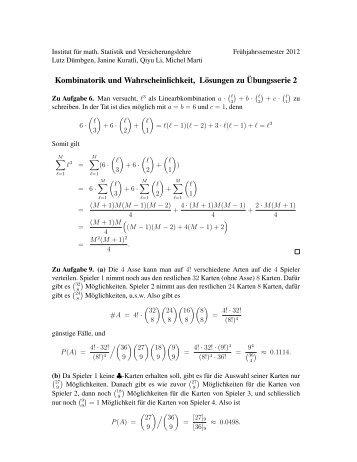 Kombinatorik und Wahrscheinlichkeit, Lösungen zu ¨Ubungsserie 2