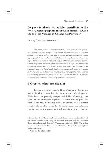 Do poverty alleviation policies contribute to the welfare of poor ...