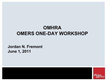 OMHRA - OMERS One-Day Workshop - Hicks Morley
