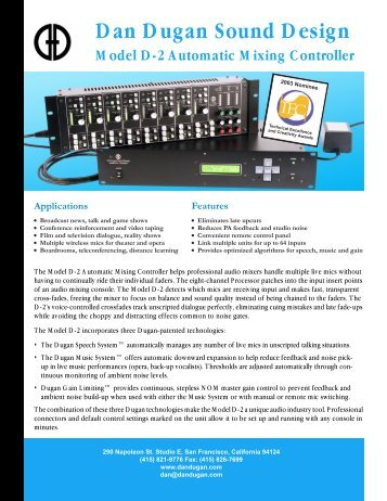 Model D-2 flyer final.pdf - Dan Dugan Sound Design