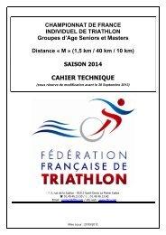 CAHIER TECHNIQUE - Fédération Française de Triathlon