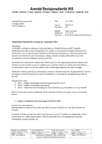 Revisorbrev vedr føringer i regnskap 2011. - Arendal Havn