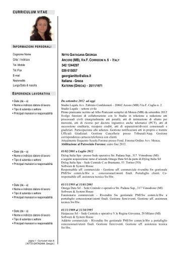 CURRICULUM VITAE 342 1244297 039 615057 georgianitto@alice ...