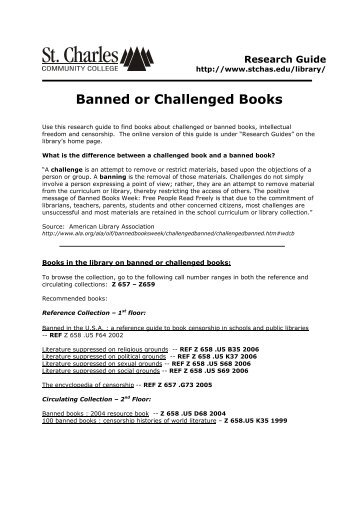 Banned or Challenged Books - St. Charles Community College