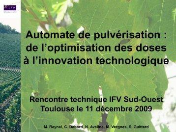 Automate de pulvérisation : de l'optimisation des doses à l ...