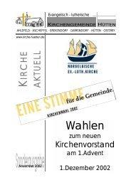 Sonderausgabe KV-Wahl Nov02.pub - Kirchengemeinde Hütten