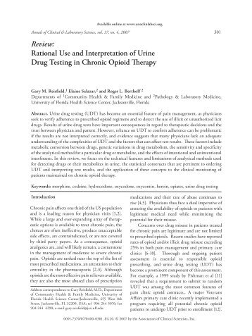 Review: Rational Use and Interpretation of Urine Drug Testing in ...