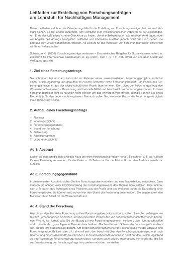 Leitfaden zur Erstellung von Forschungsanträgen am Lehrstuhl für ...