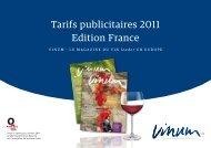 Tarifs publicitaires 2011 Edition France - Vinum