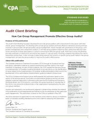 Audit Client Briefing - Canadian Institute of Chartered Accountants