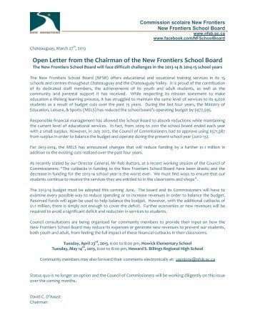 Open Letter from the Chairman of the New Frontiers School Board