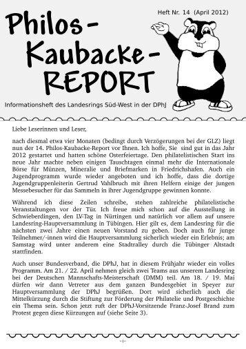 Philos- Kaubacke- REPORT - Junge Briefmarkenfreunde in Süd-West