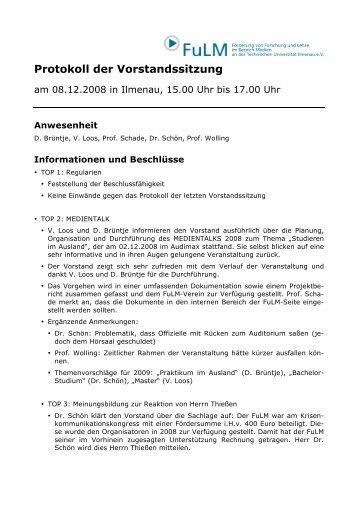 Protokoll der Vorstandssitzung - FULM e. V.